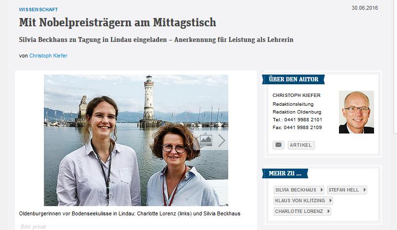 Zwei AGOnautinnen nehmen an 66. Lindauer Nobelpreisträgertagung teil