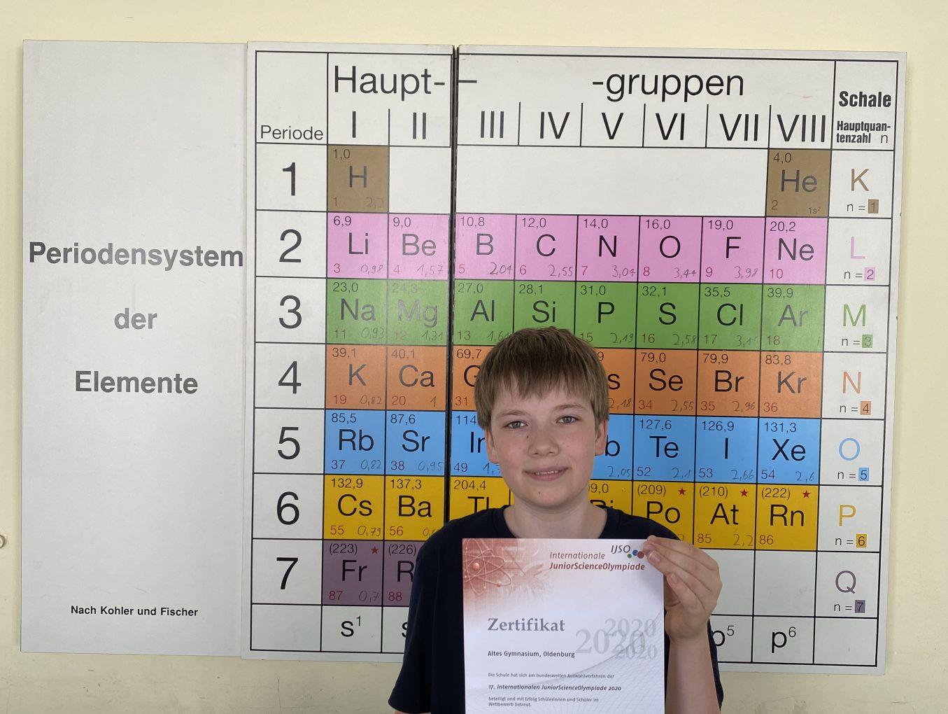 Julius Boshoven: einziger und jüngster Teilnehmer aus Niedersachsen für das Bundesfinale der Internationalen Junior Science Olympiade qualifiziert